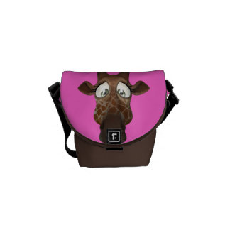Cute Cartoon Giraffe Pink & Brown Messenger Bag