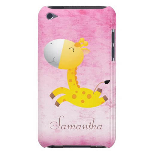 Cute Cartoon Giraffe Pink Personalized Barely There iPod Covers