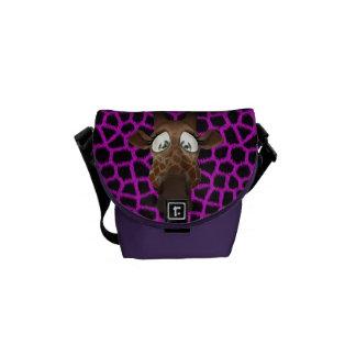 Cute Cartoon Giraffe & Purple Faux Fur Pattern Courier Bags