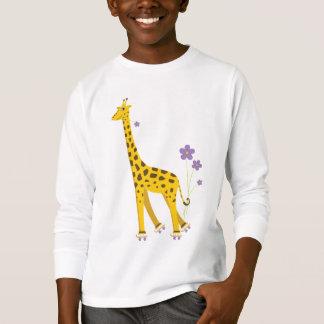 Cute Cartoon Giraffe Skating Kids Long Sleeve T-Shirt
