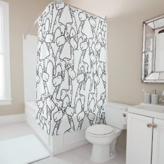 Cute cartoon giraffes pattern shower curtain