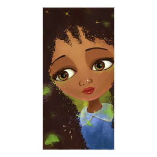 cute cartoon girl green eyes photo card