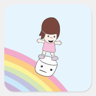 Cute Cartoon Girl on Rainbow w Marshmallow Sticker