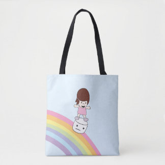 Cute Cartoon Girl w Rainbow & Marshmallow Tote Bag