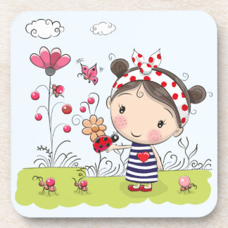 Cute Cartoon Girl with Ladybug in Garden Scene Coaster