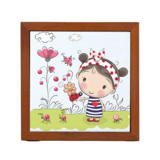 Cute Cartoon Girl with Ladybug in Garden Scene Desk Organiser