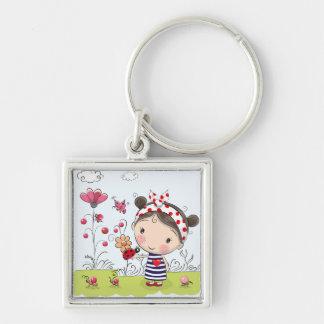 Cute Cartoon Girl with Ladybug in Garden Scene Key Ring