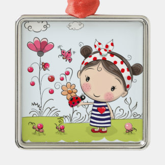 Cute Cartoon Girl with Ladybug in Garden Scene Metal Ornament