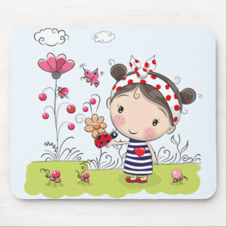 Cute Cartoon Girl with Ladybug in Garden Scene Mouse Pad