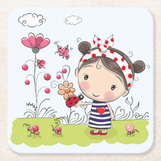 Cute Cartoon Girl with Ladybug in Garden Scene Square Paper Coaster