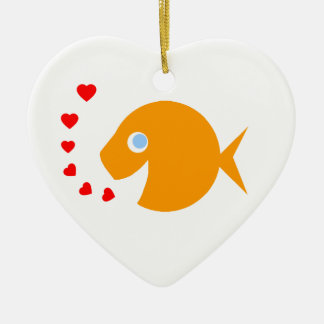 Cute Cartoon Goldfish with Blue Eyes Heart-Shaped Ceramic Ornament