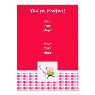 Cute Cartoon Golfer 13 Cm X 18 Cm Invitation Card