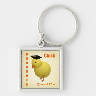 Cute Cartoon Graduate Chick with Mortar Board Hat Silver-Colored Square Key Ring
