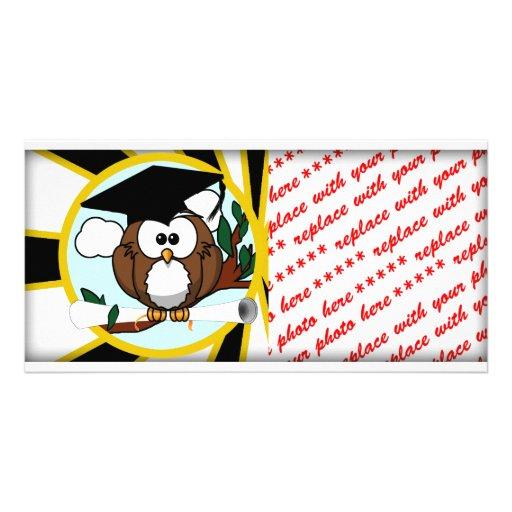 Cute Cartoon Graduating Owl w/Black & Gold Colors Custom Photo Card
