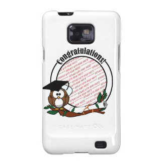 Cute Cartoon Graduation Owl With Cap & Diploma Galaxy SII Cases