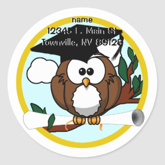 Cute Cartoon Graduation Owl With Cap & Diploma Classic Round Sticker