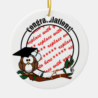 Cute Cartoon Graduation Owl With Cap & Diploma Ornaments