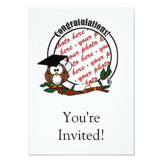 "Cute Cartoon Graduation Owl With Cap & Diploma 5"" X 7"" Invitation Card"