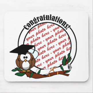 Cute Cartoon Graduation Owl With Cap & Diploma Mouse Pads