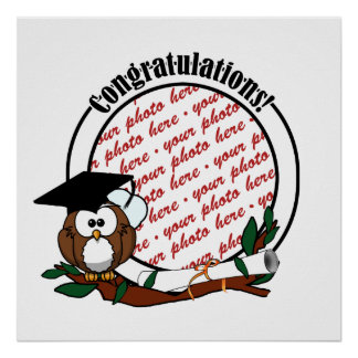 Cute Cartoon Graduation Owl With Cap & Diploma Print