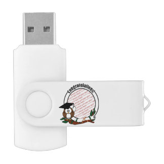 Cute Cartoon Graduation Owl With Cap & Diploma Swivel USB 2.0 Flash Drive
