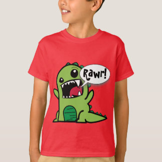 Cute Cartoon Green 'Rawr!' Dinosaur T-Shirt