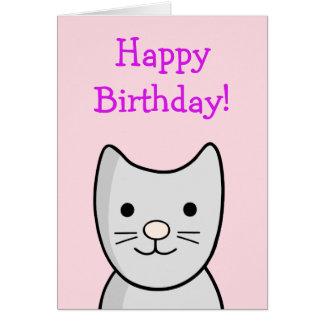 Cute Cartoon Grey Cat Birthday Card