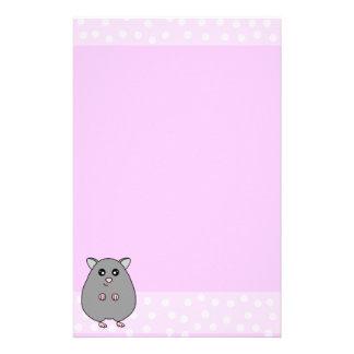 Cute Cartoon Grey Hamster Pink Stationery