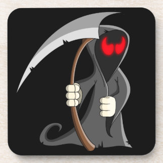 Cute Cartoon Grim Reaper Halloween Coaster