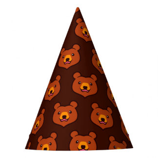 Cute Cartoon Grizzly / Brown Bear Pattern Party Hat