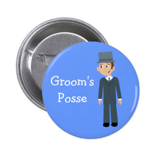Cute Cartoon Groom s Posse Bachelor Party Button