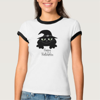 Cute Cartoon Halloween Cat with Witches Hat T-Shirt