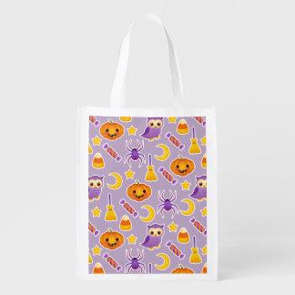 Cute Cartoon Halloween Purple Pattern Reusable Grocery Bag