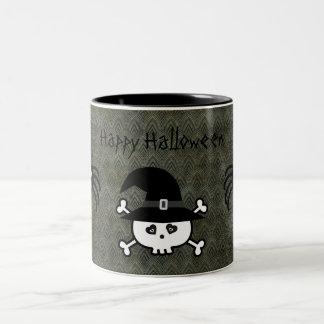 Cute Cartoon Halloween Skull & Spiders Grunge Coffee Mugs