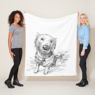 Cute Cartoon Hand Drawn Dog Fleece Blanket