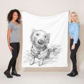 Cute Cartoon Hand Drawn Dog Fleece Blanket