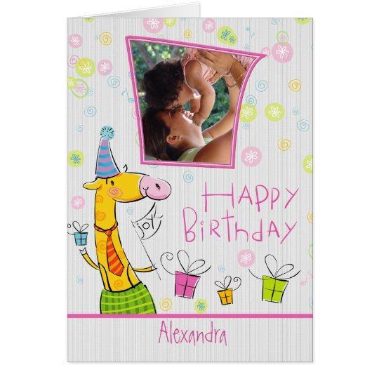 Cute Cartoon Happy Birthday-Custom Photo Card