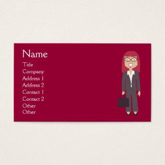 Cute Cartoon Happy Businesswoman Red Custom Business Card