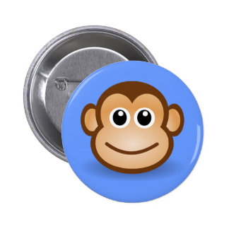 Cute Cartoon Happy Monkey Face Pinback Buttons
