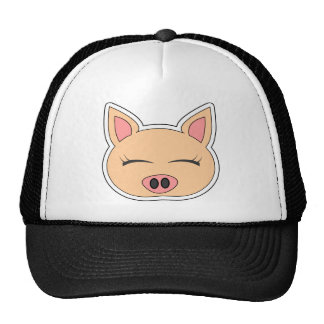 Cute Cartoon Happy Pig Mesh Hats
