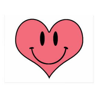 Cute Cartoon Heart Smilie Save the Date! Postcard