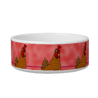 Cute Cartoon Hens Chickens Red Custom Pet Bowl