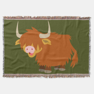 Cute Cartoon Highland Cow Throw Blanket