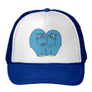 Cute Cartoon Hippos in Love Hat