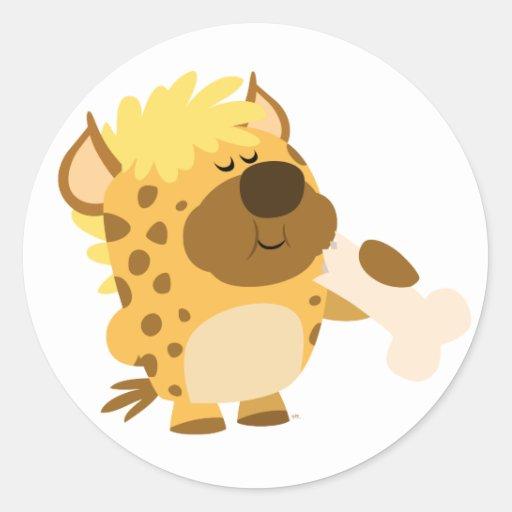 Cute Cartoon  Hyena Crushing a Bone Sticker