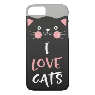 Cute Cartoon I Love Cats iPhone 8/7 Case