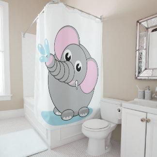 Cute cartoon illustration of a baby gray elephant, shower curtain