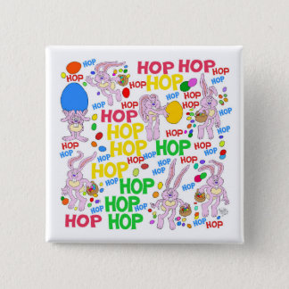 Cute cartoon illustrations of pink bunnies. 15 cm square badge