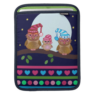 Cute cartoon iPad sleeve Sleepy Owl Family