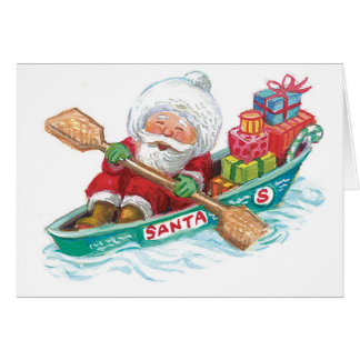 Cute Cartoon Jolly Santa Claus in a Row Boat Card